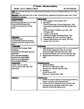 Wonders Reading 2nd Grade Unit 2 Week 3 Lesson Plan