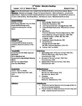 Wonders Reading 2nd Grade Unit 2 Week 4 Lesson Plan