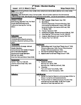Wonders Reading 2nd Grade Unit 3 Week 3 Lesson Plan