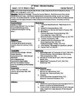 Wonders Reading 2nd Grade Unit 3 Week 5 Lesson Plan