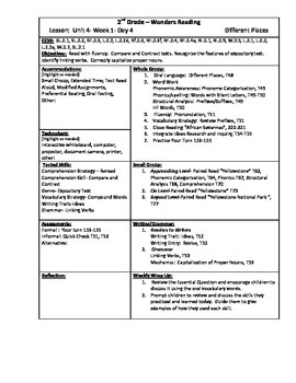 Wonders Reading 2nd Grade Unit 4 Week 1 Lesson Plan