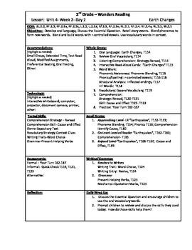 Wonders Reading 2nd Grade Unit 4 Week 2 Lesson Plan