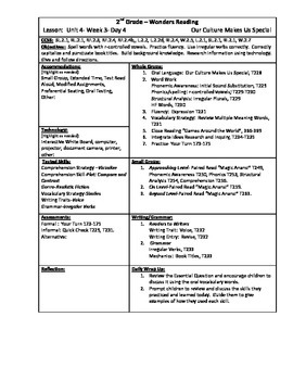 Wonders Reading 2nd Grade Unit 4 Week 3 Lesson Plan