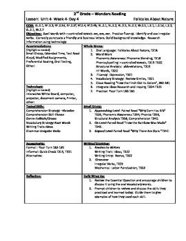 Wonders Reading 2nd Grade Unit 4 Week 4 Lesson Plan