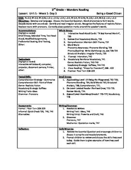 Wonders Reading 2nd Grade Unit 5 Week 1 Lesson Plan