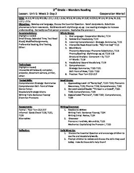 Wonders Reading 2nd Grade Unit 5 Week 2 Lesson Plan