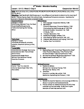 Wonders Reading 2nd Grade Unit 5 Week 2 Lesson Plan (2014 edition)