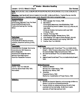 Wonders Reading 2nd Grade Unit 5 Week 3 Lesson Plan
