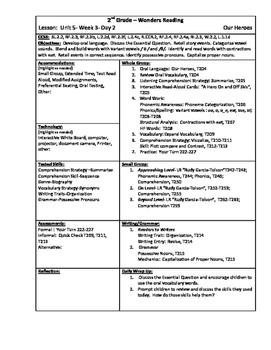 Wonders Reading 2nd Grade Unit 5 Week 3 Lesson Plan (2014 edition)
