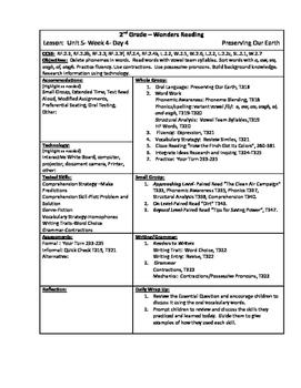 Wonders Reading 2nd Grade Unit 5 Week 4 Lesson Plan