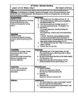 Wonders Reading 2nd Grade Unit 6 Week 1 Lesson Plan