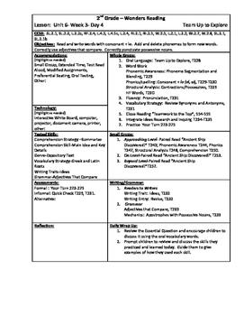 Wonders Reading 2nd Grade Unit 6 Week 3 Lesson Plan