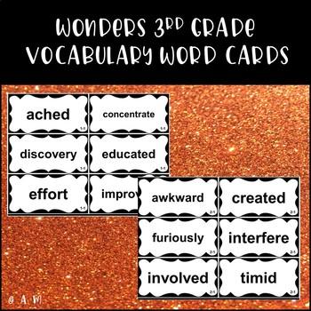 Wonders Reading 3rd Grade Vocabulary Word Cards