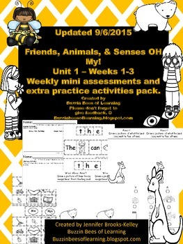 Wonders Reading Extra Assessments: Unit 1-Weeks 1 - 3 for Kindergarten Updated