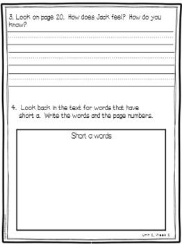 Wonders Reading Comprehension First Grade Unit 1