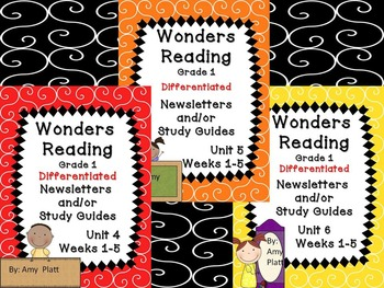 Wonders Reading Differentiated Newsletters / Study Guides Grade 1 Units 4-6
