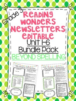 Wonders Reading Editable 3rd Grade Newsletter-BEYOND SPELL