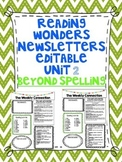 Wonders Reading Editable 3rd Grade Weekly Newsletter-BEYOND SPELLING Unit 2
