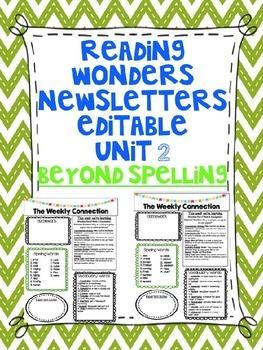 Wonders Reading Editable 3rd Grade Weekly Newsletter-BEYON