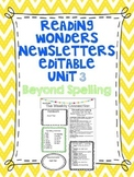 Wonders Reading Editable 3rd Grade Weekly Newsletter-BEYOND SPELLING Unit 3