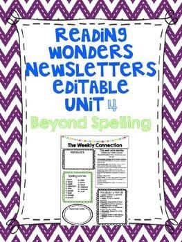 Wonders Reading Editable 3rd Grade Weekly Newsletter-BEYOND SPELLING Unit 4