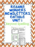 Wonders Reading Editable 3rd Grade Weekly Newsletter-BEYOND SPELLING Unit 5