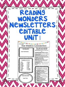 Wonders Reading Editable 3rd Grade Weekly Newsletter Unit 1