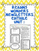 Wonders Reading Editable 3rd Grade Weekly Newsletter Unit 3
