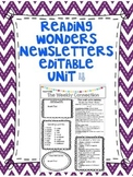 Wonders Reading Editable 3rd Grade Weekly Newsletter Unit 4