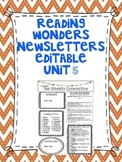 Wonders Reading Editable 3rd Grade Weekly Newsletter Unit 5