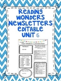 Wonders Reading Editable 3rd Grade Weekly Newsletter Unit 6
