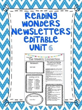 Wonders Reading Editable 3rd Grade Weekly Newsletter Unit 6