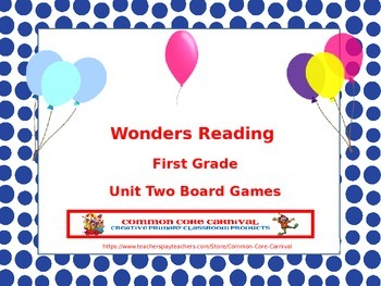 McGraw-Hill Wonders Reading First Grade Unit Two Board Games