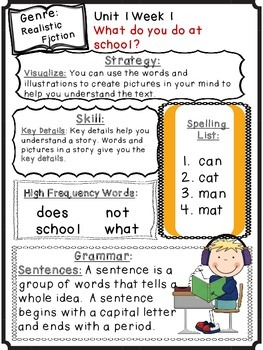 Wonders Reading Grade 1 Unit 1 Differentiated Newsletter / Study Guides