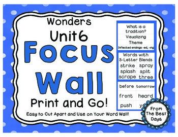 Wonders Reading Grade 1:  Focus Wall, Unit 6