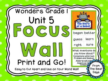 Wonders Reading Grade 1:  Focus Wall, Unit 5