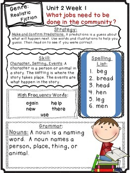 Wonders Reading Grade 1 Unit 2 Differentiated Newsletter/Study Guide