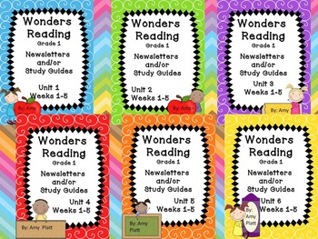 Wonders Reading Grade 1 Units 1-6 Newsletter / Study Guides