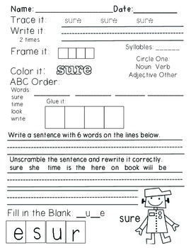 Wonders Reading Grade 1:  Word Work Unit 5