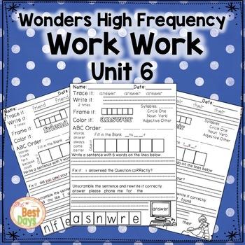 Wonders Reading Grade 1:  Word Work Unit 6