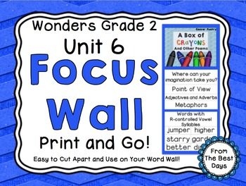 Wonders Reading Grade 2:  Focus Wall, Unit 6