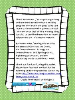 Wonders Reading Grade 2 Unit 2 Newsletter / Study Guide