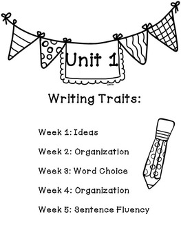 Wonders Reading Grade 2 Writing Traits Unit 1 and 2