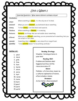 Wonders Reading Grade 3 Unit 3 Complete Study Guides