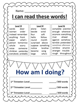 Wonders Reading High Frequency Word Lists~2nd Grade