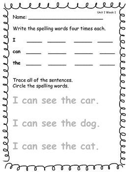 Wonders Reading Kindergarten Spelling Unit 1