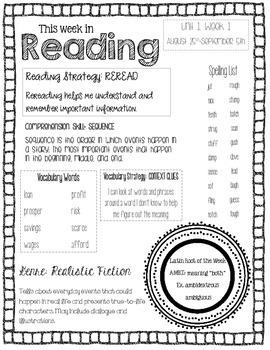 Wonders Reading Newsletter