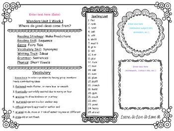 Wonders Reading Newsletters-Editable 4th Grade, Unit 1