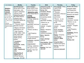 Wonders Reading Second Grade ~Unit 5~ Lesson Plans Plus