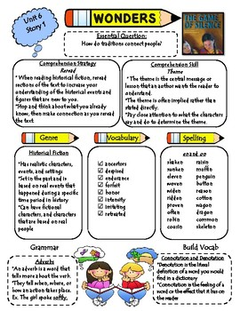 Wonders Reading Series 4th Grade: Unit 6, Lessons 1-5